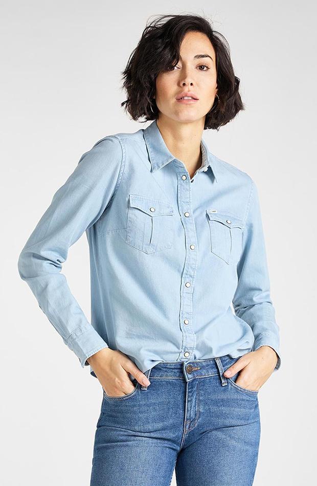 Camisa vaquera en azul claro Lee estilos de camisa