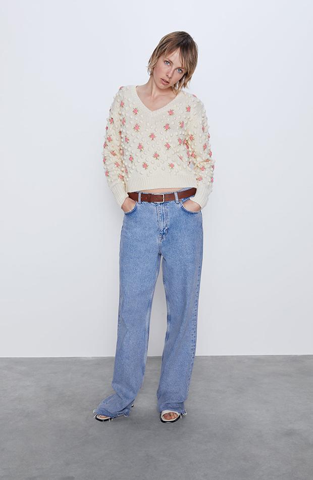 jerseis cortos pompón flores Zara