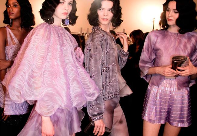lila color tendencia pasarela desfile Armani