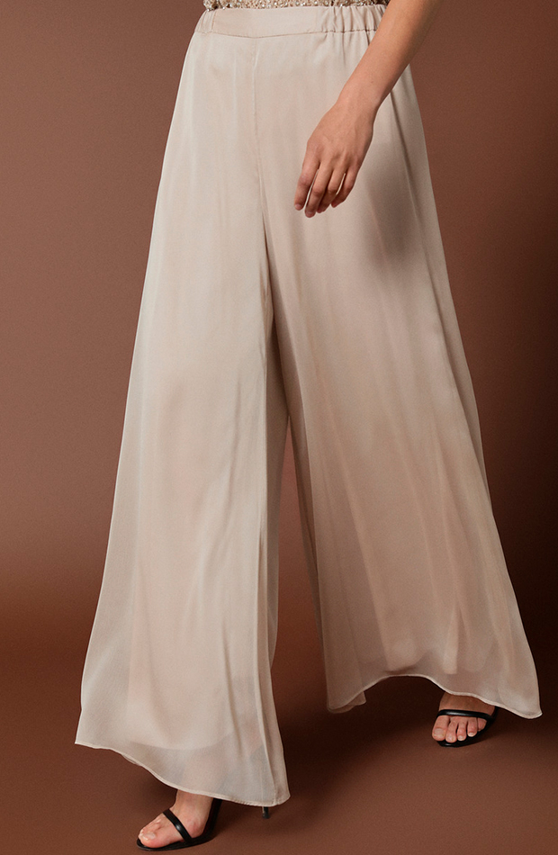 pantalón amplio gasa beige woman fiesta transparencias prendas transparentes