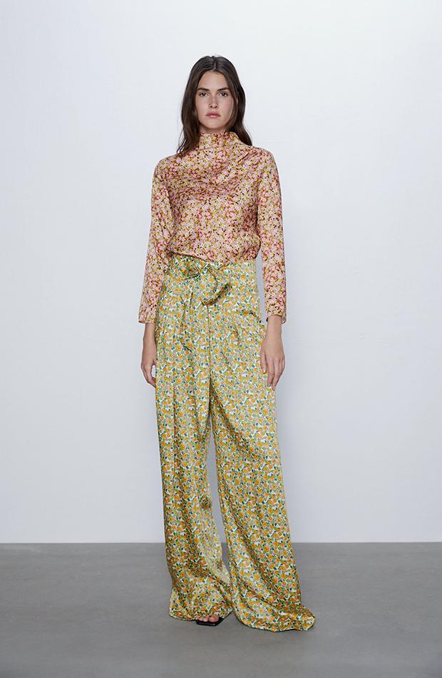 pantalones estampados con lazo de Zara