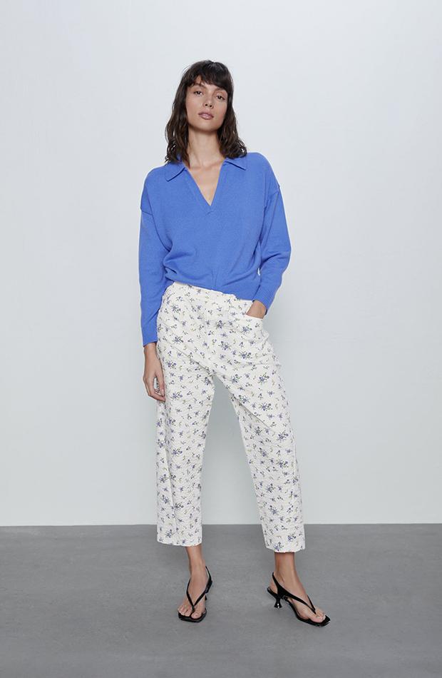 Pantalones con print floral Zara
