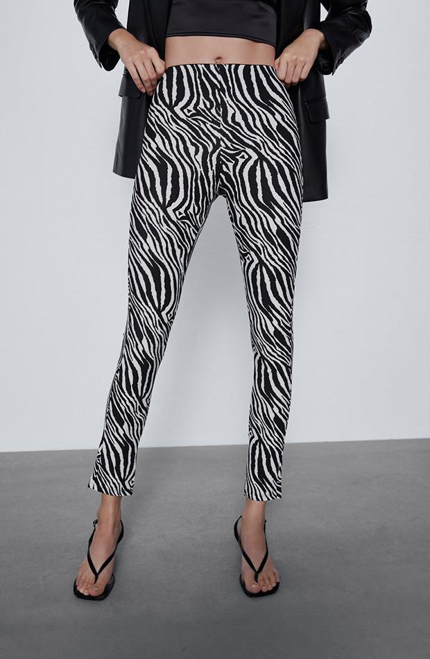 pantalones pitillo con animal print Zara