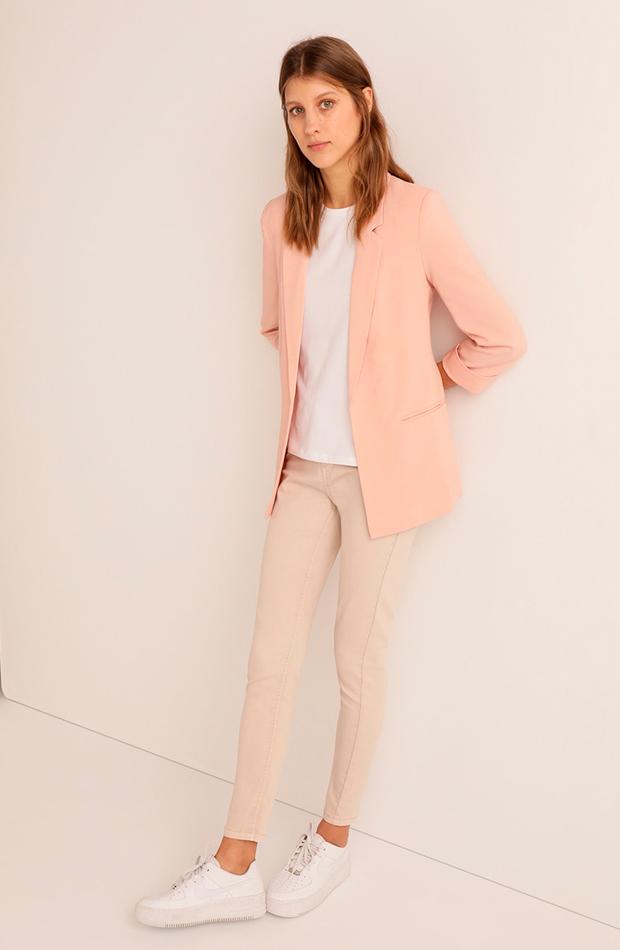 prendas de primavera blazer rosa pastel easy wear