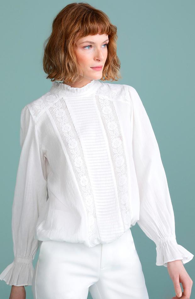 prendas de primavera blusa mujer romántica blanca larga tintoretto