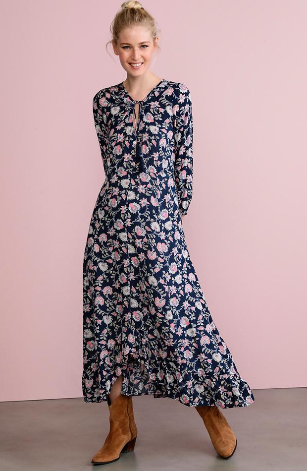 prendas de primavera vestido largo flores southern cotton