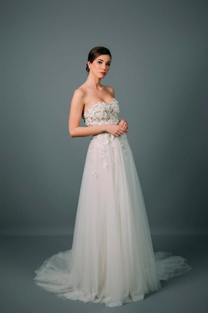 Rocio Osorno vestido novia corte en la cintura falda de tul