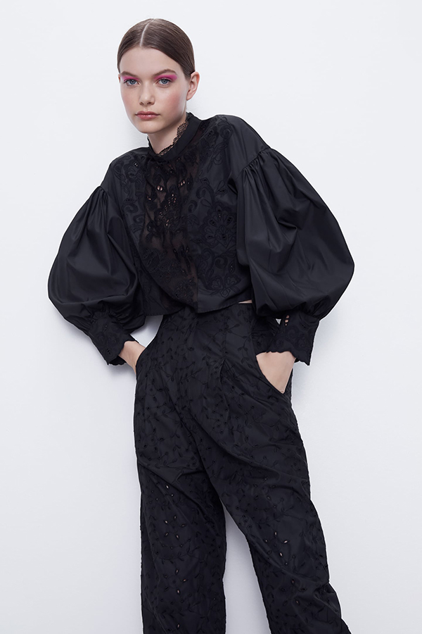 Cuerpo bordado con volumen de Zara