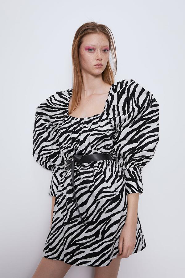 Vestido estampado cebra de Zara