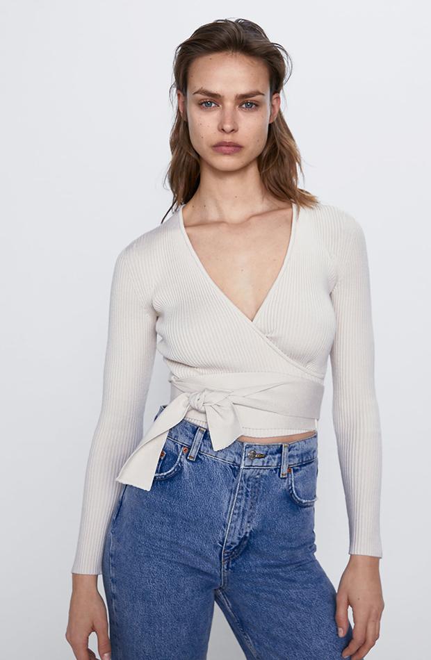 jerseis cortos top canalé Zara