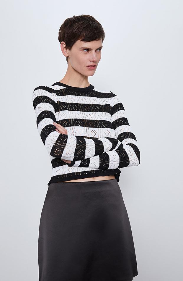 jerseis cortos top de punto pointelle Zara
