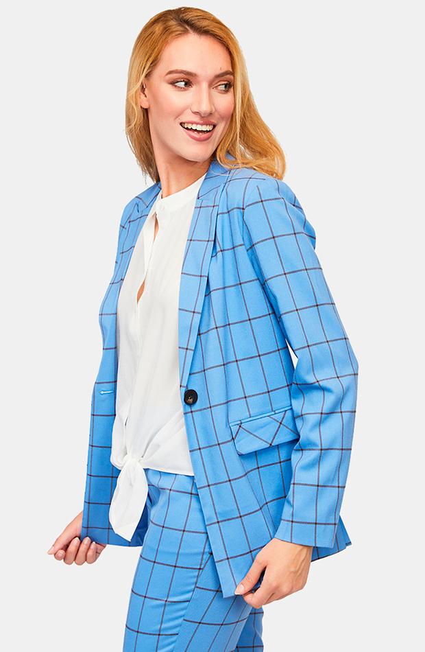 trajes pantalon azul con estampado de cuadros vila