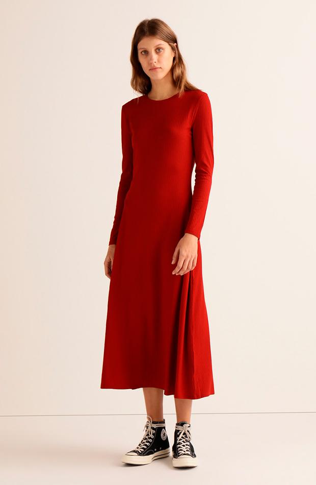 vestido canale largo rojo easy wear prendas de primavera