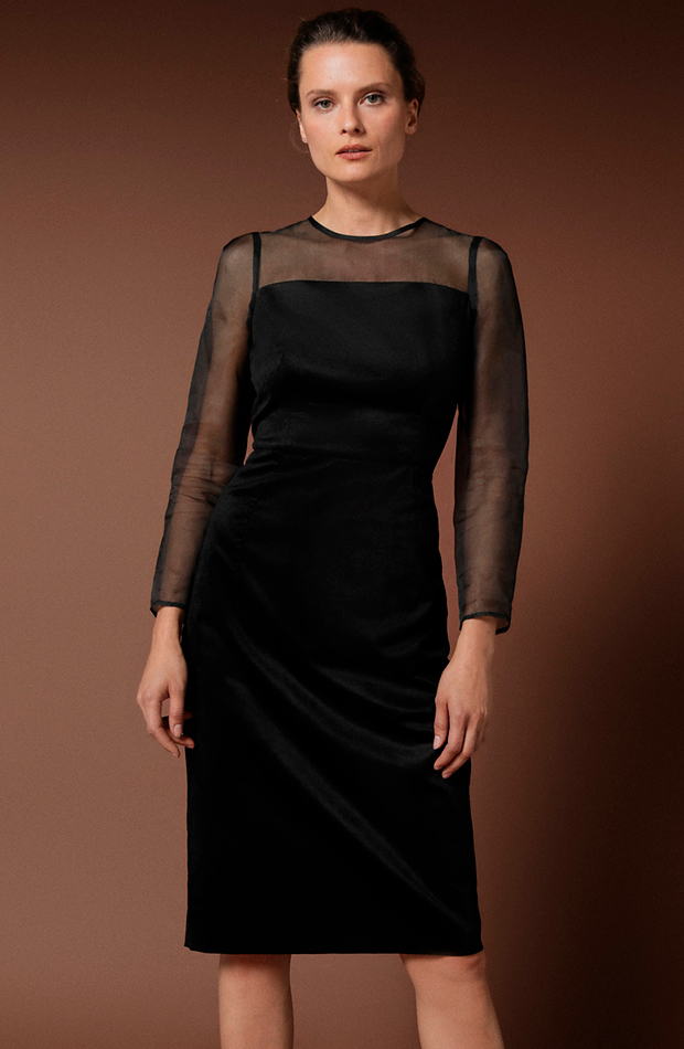 vestido corto terciopelo mangas gasa woman limited transparencias prendas transparentes