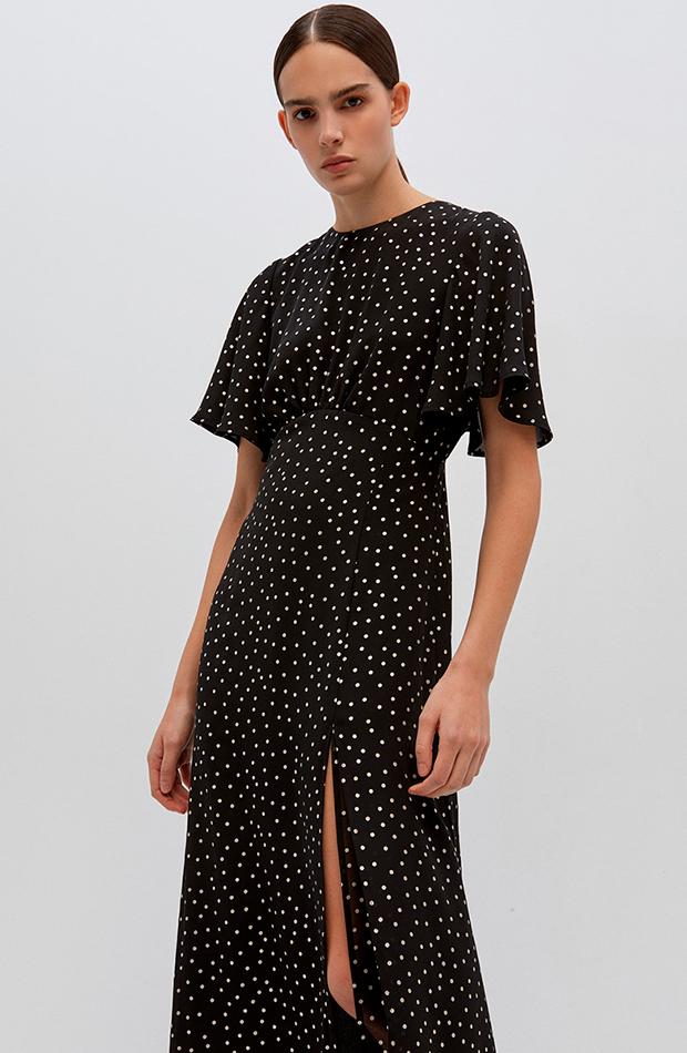 vestido largo con abertura sfera estampado de lunares