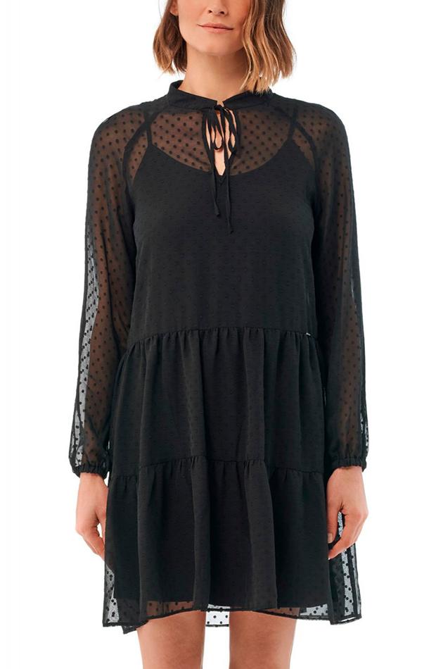 vestido negro plumeti salsa transparencias prendas transparentes