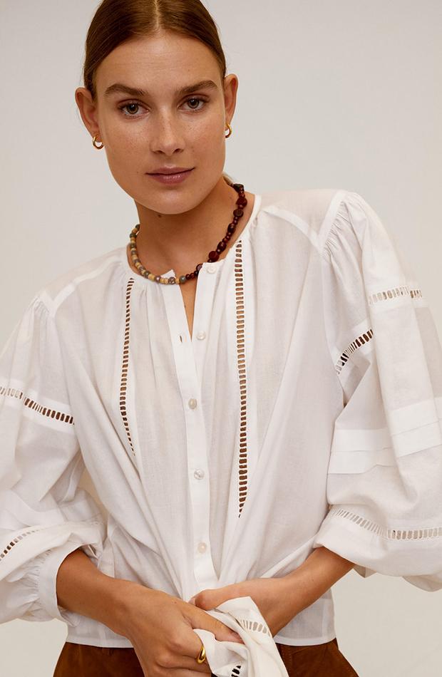 blusa blanca detalles calados novedades de mango primavera
