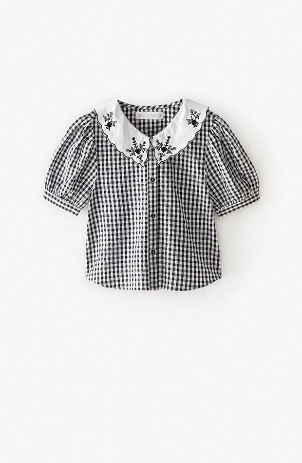 Blusa cuadros vichy con bordados novedades primavera Zara Kids