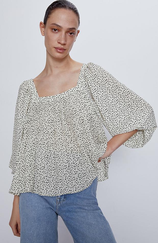 blusa plisada estampado lunares zara camisas ideales primavera verano