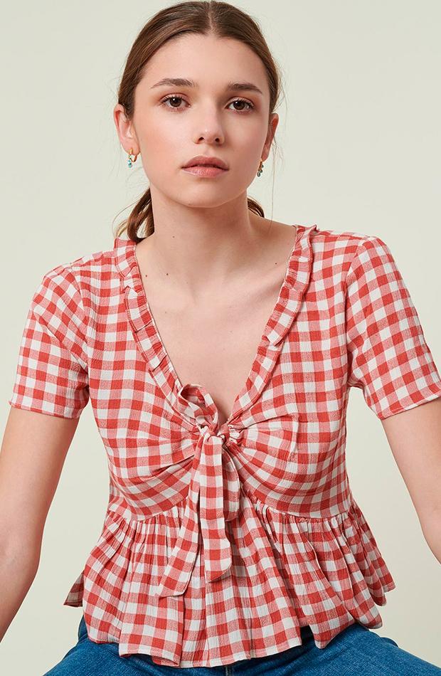 blusa vichy volante brownie camisas ideales primavera verano