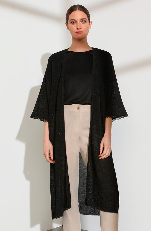 cambio de armario básicos chaqueta larga de punto de mujer con flecos woman limited el corte ingles