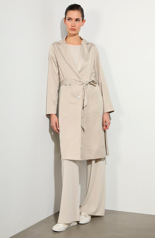cambio de armario básicos gabardina satinada de mujer en color beige woman limited