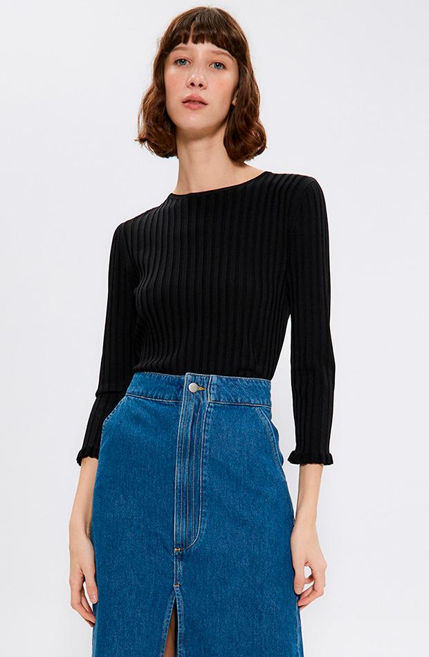 cambio de armario básicos jersey de mujer de canalé con volantes negro sfera