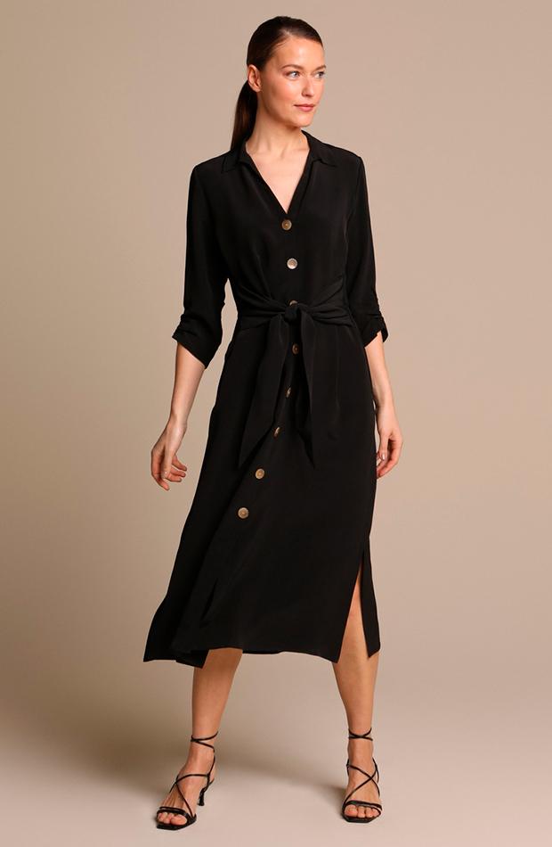 cambio de armario básicos vestido largo camisero negro woman limited