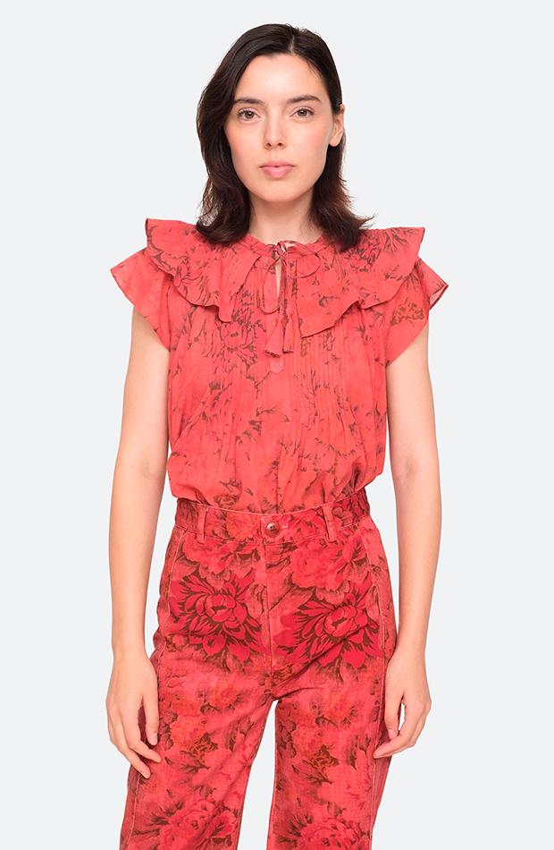 camisa estampada flores roja sea ny camisas ideales primavera verano