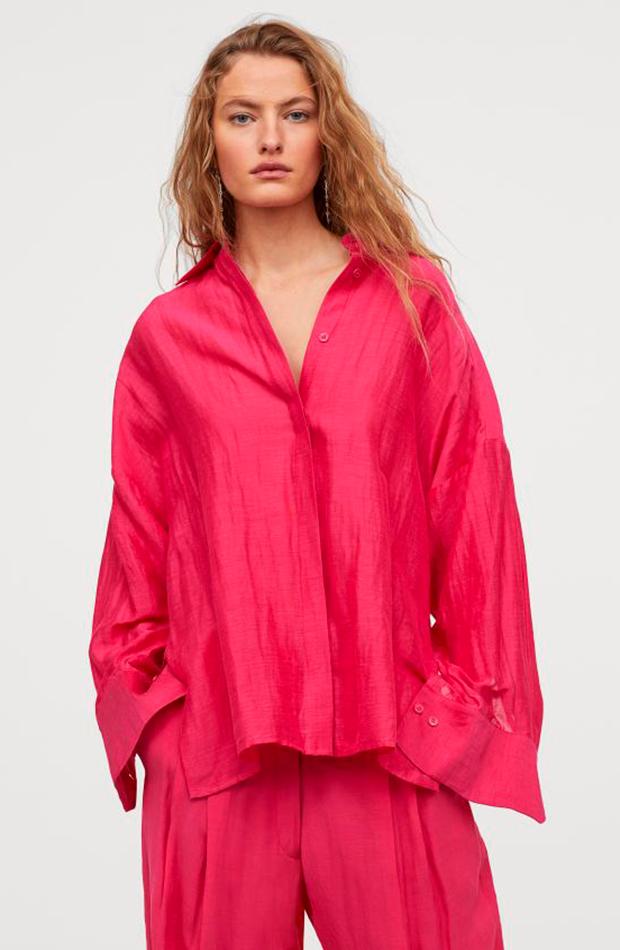 camisa oversize rosa hm colección studio camisas ideales primavera verano