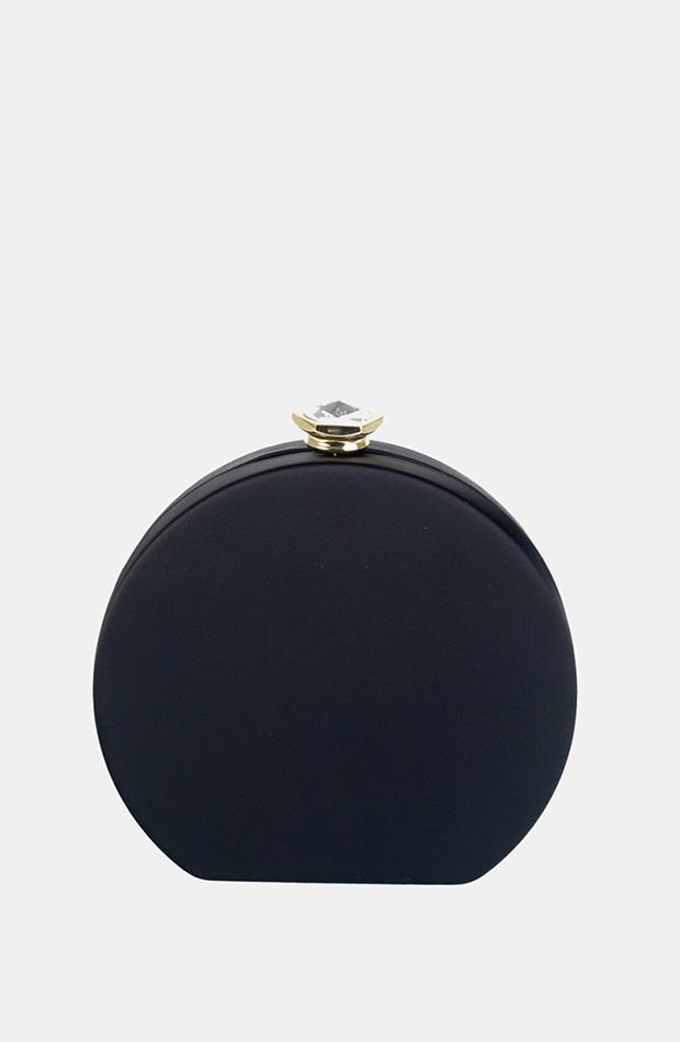 invitada perfecta primavera clutch de fiesta pequeño volum de raso en negro con asa de cadena