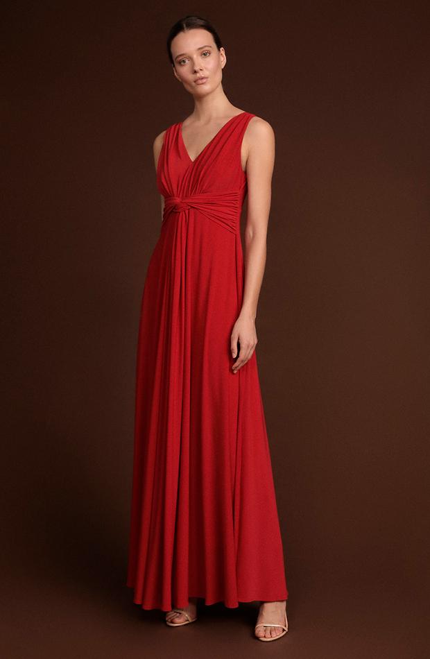invitada perfecta primavera vestido largo con escote en pico rojo el corte ingles