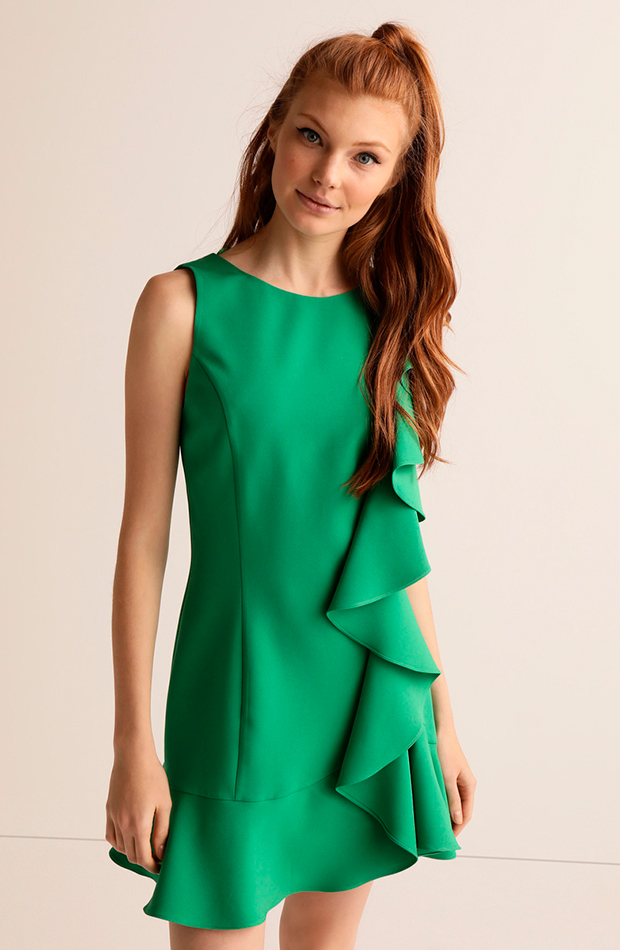 invitada perfecta primavera vestido verde con volantes green coast
