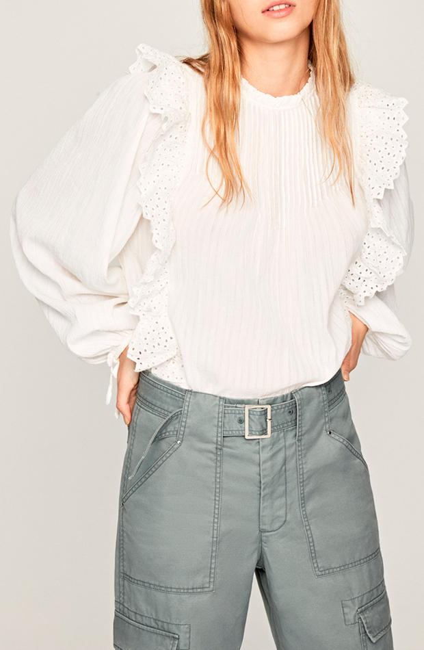 looks en blanco blusa de mujer de manga larga con volantes pepe jeans