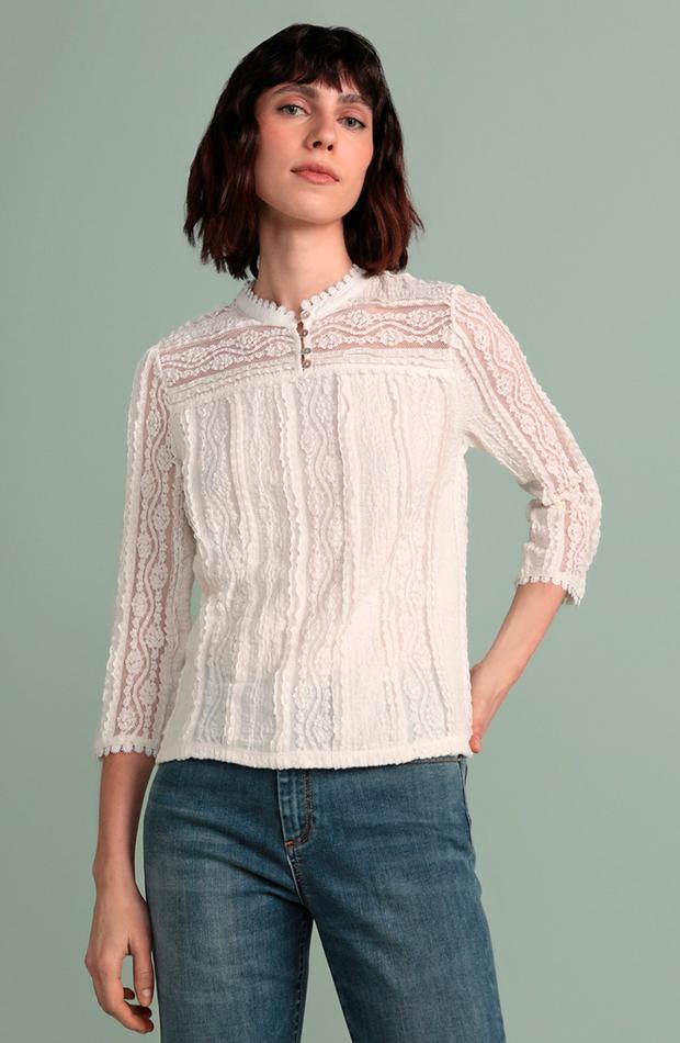 looks en blanco blusa de mujer manga larga cuello con detalle tintoretto