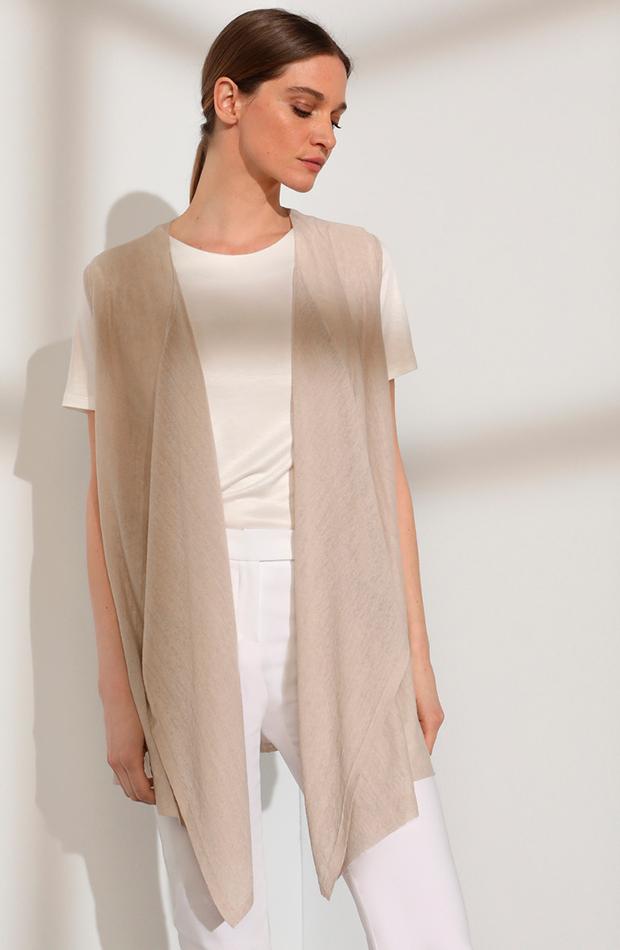 looks en blanco chaleco de mujer con lino y picos delanteros woman limited