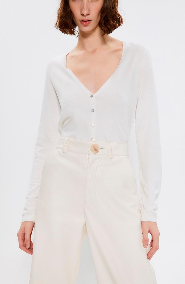 looks en blanco chaqueta de punto de mujer lisa cuello pico sfera