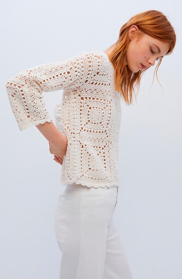 looks en blanco jersey crochet de mujer con cuello caja sfera