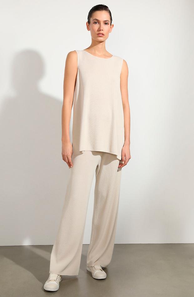 looks en blanco pantalón amplio de mujer con tejido punto woman limited