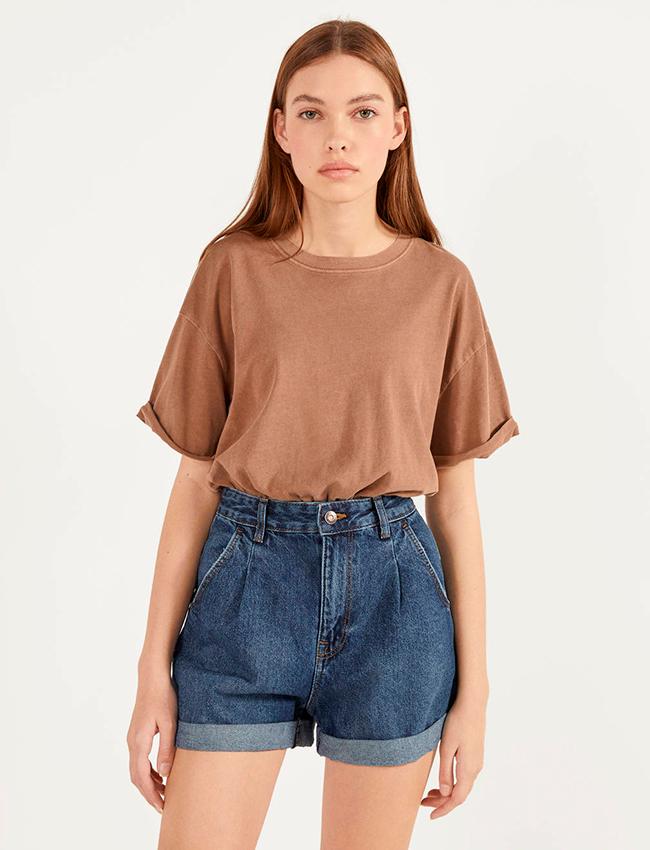 Mini shorts vaqueros de Bershka