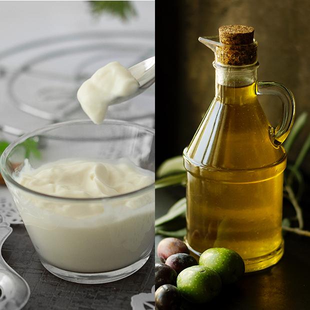 mascarillas caseras para el pelo Mayonesa con aceite de oliva