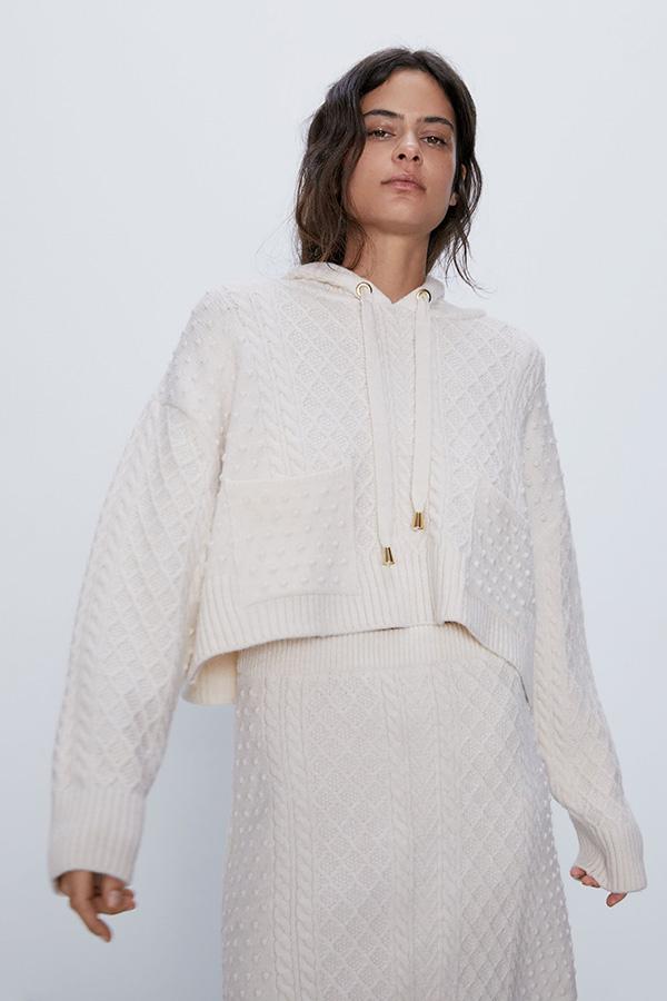Sudadera de Zara blanca de punto