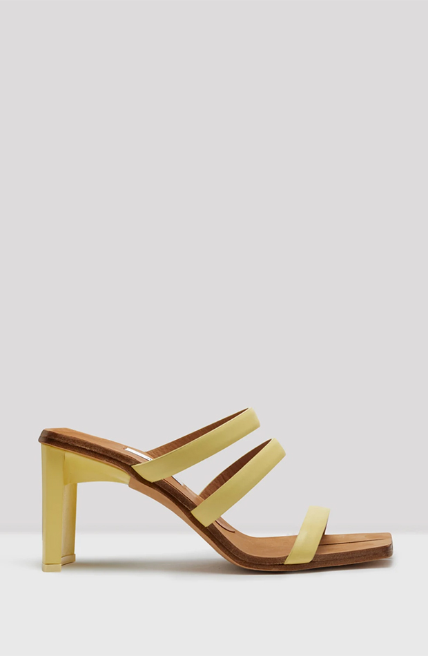 sandalia tiras amarillas zapatos invitada para verano