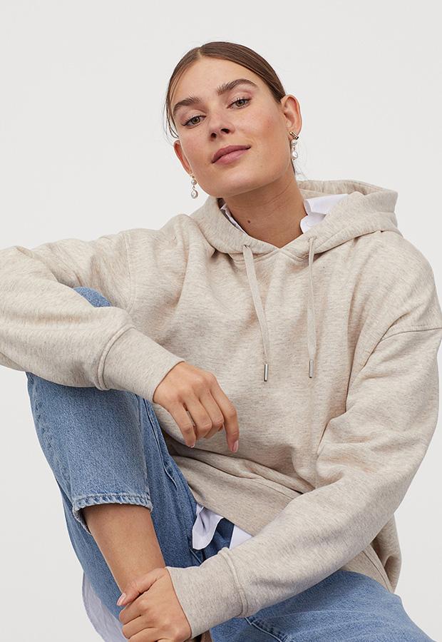 Sudadera beige oversize de H&M