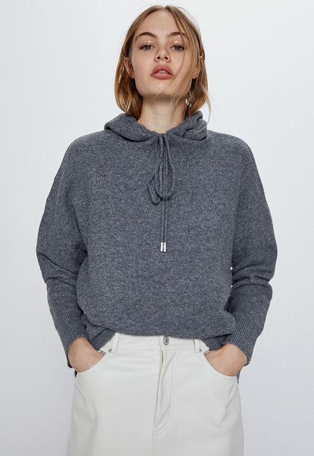 Sudadera de punto gris de Zara