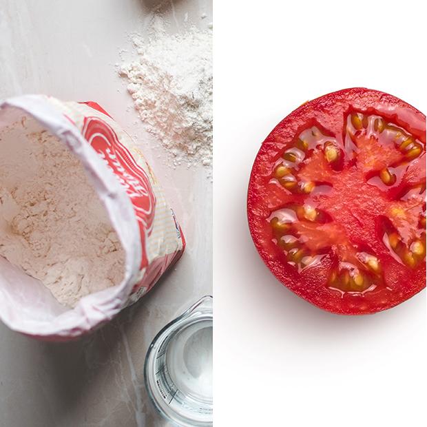 mascarillas caseras para el pelo Harina de maíz con tomate