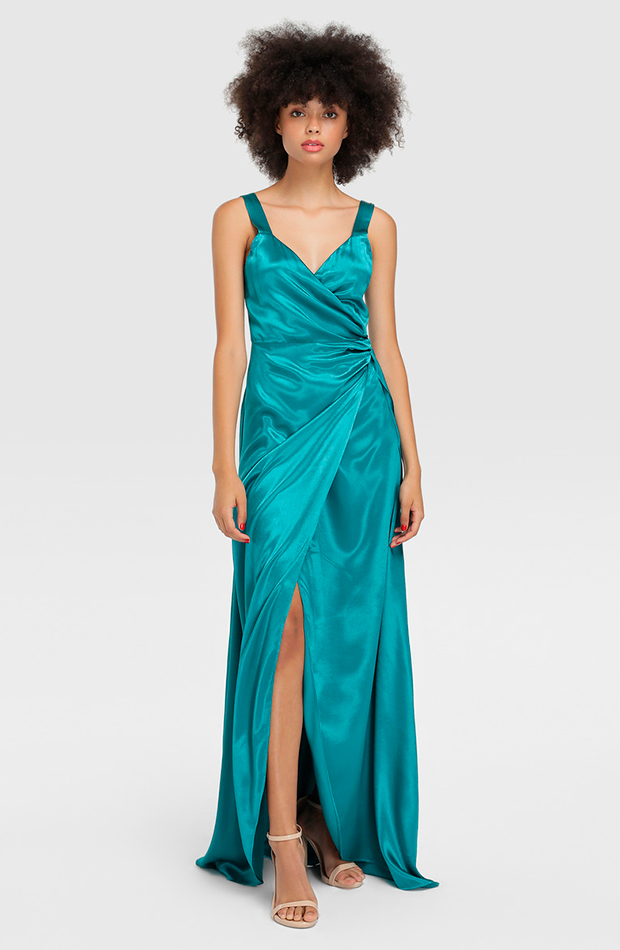 vestido fórmula joven satinado tirantes green coast invitada perfecta primavera
