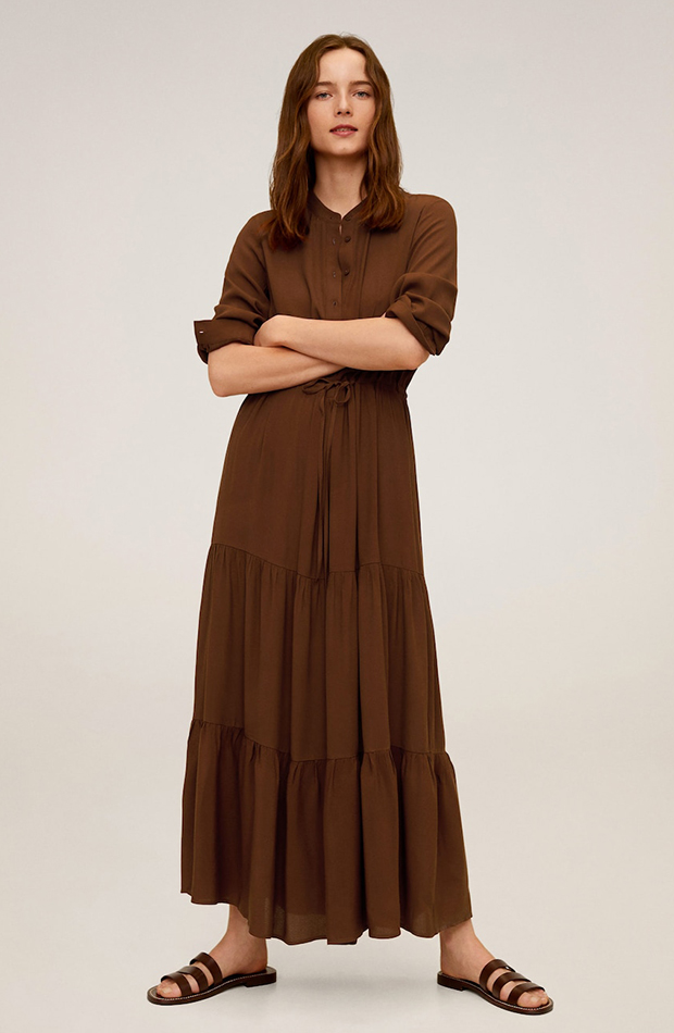 vestido largo volantes marrón novedades de mango primavera