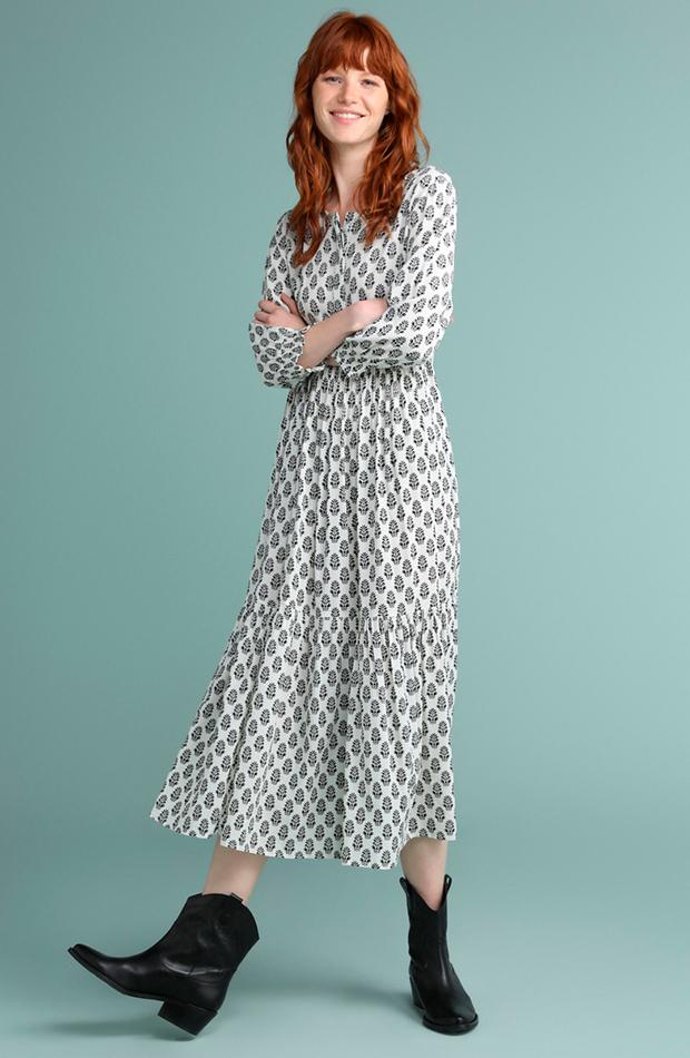 vestidos versatiles estampado largo tintoretto
