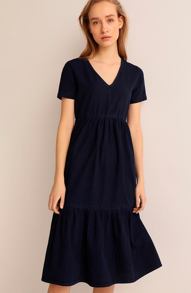 vestidos versatiles vestido midi con escote en pico easy wear